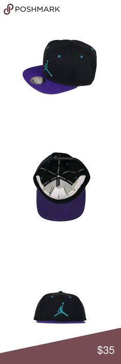 Nike Jordan Retro Snapback Cap Adult One Size Fits Here is a brand new NikeJordan RetroSnapback Cap (Style #612193 031) in an adult one size fits most. Cap is black and aqua blue in color.Inspired by the Retro sneaker, this cap has an adjustable, comfortable fit. Six-panel design with interior taping provides comfort and durability. Eyelets at each panel enhance breathability. Snap closure in back for an adjustable fit.Item is authentic Nike Jordan product and comes complete with hang…