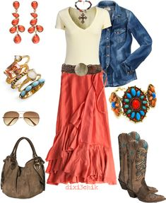 Cowgirl chic -- i LOVE the skirt!