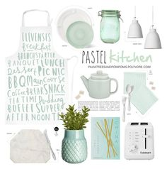"""""""Pastel Home Decor"""" by palmtreesandpompoms ❤ liked on Polyvore featuring interior, interiors, interior design, home, home decor, interior decorating, PHAIDON, Kilner, Cuisinart and Caravan"""