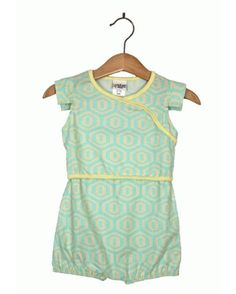 #Teal and #yellow honeycomb print #romper by Rock Me! USA.  #girls.  on #BonMimi NOW through FRI 5/25 9amEST.