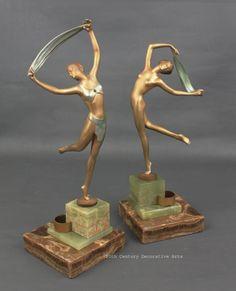 Art Deco Austrian bronze figures by Josef Lorenzl