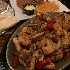 Sizzling Veracruz Fajitas (grilled shrimp and Chicken)