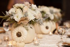 Gorgeous white pumpkin centerpieces with flowers inside - Houston wedding photography - MD Turner Photography