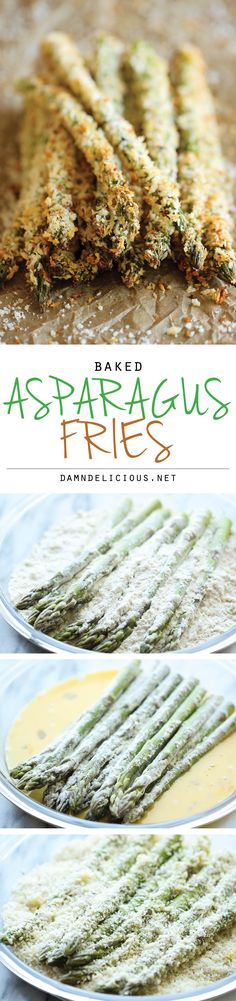 Baked Asparagus Fries - A healthy alternative to french fries baked to crisp perfection right in the oven! #vegetarian #recipe #veggie #healthy #recipes