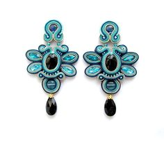 Soutache Earrings Blue Clips Soutache Gioielli by StudioGianna