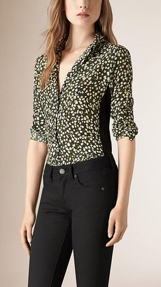 Dark forest green Abstract Floral Print Silk Shirt - Image 1