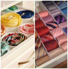 How to organize ties for him. DIY ideas for ties and belts organization and storage. Use racks and drawer dividers to organize cheap men storage ideas