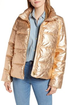 Save on J.Crew Metallic Puffer Jacket with PrimaLoft® Puffer Jackets, Winter Jackets, Puffer Coats, Latest Clothing Trends, Coats For Women, Clothes For Women, Fall Capsule Wardrobe, Down Coat, Stylish Outfits