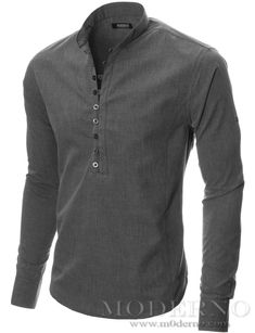 Mens long sleeve mao collar casual shirt charcoal - Mens Shirts Casual - Ideas of Mens Shirts Casual - Mens button-down shirt charcoal MODERNO Rugged Style, Style Men, Best Casual Shirts, Mens Clothing Styles, Shirt Style, Men Casual, Mens Fashion, Fashion 2016, Clothes