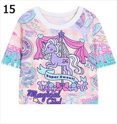 2016 summer style harajuku cartoon unicorn floral letters kawaii graphic print Tee short t shirt women bustier crop tops