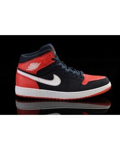 buy online 96c8f b1db2 Nike Air Jordan 1 Mid Retro Basketball Mens Shoes Black   Red All kinds of  Cheap