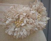 wedding bridal sash handmade two fllowers off white sash. $65.00, via Etsy.