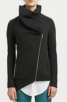 Slanted Trend  HELMUT by Helmut Lang Black Soft Asymmetrical Sweatshirt Jacket