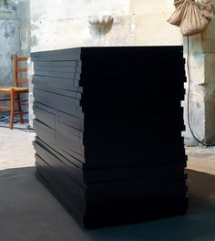 commode barre noire - black - pink wood - furniture