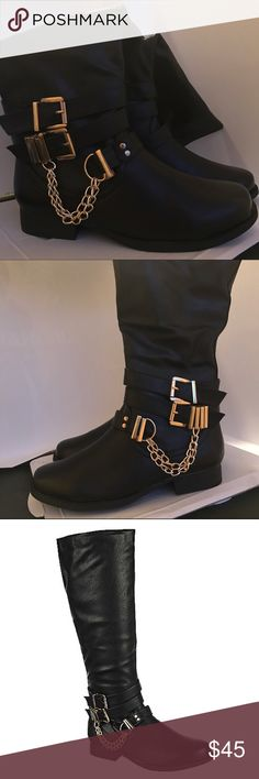 ⭐️Black Boots W/ Gold Buckles & Chain⭐️ ‼️NEW‼️ Details➡️ Vegan Leather. Heel height: 1 in. Opening: 15 in. Shaft: 16.5 in. Leatherette Rubber outsole Dual adjustable ankle strap Chain link detail Full side zipper Chain link detail Full side zipper Shoes