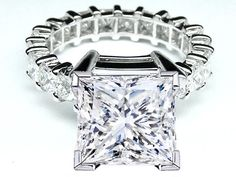 Princess Diamond Eternity engagement ring setting 3 tcw for a Large Square Diamond - ES765