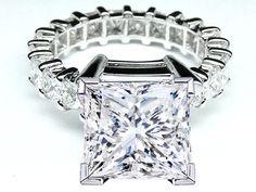 Princess Diamond Eternity engagement ring setting 3 tcw for a Large Square Diamond - ES765