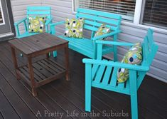 Deck Makeover: Painting Deck Furniture - A Pretty Life In The Suburbs Painted Outdoor Furniture, Wood Patio Furniture, Modern Outdoor Furniture, Furniture Ideas, Outdoor Spaces, Outdoor Chairs, Outdoor Decor, Lawn Chairs, Adirondack Chairs