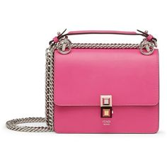 Women's Fendi Small Kan I Leather Shoulder Bag (23.628.500 IDR) ❤ liked on Polyvore featuring bags, handbags, shoulder bags, geranium, leather purses, pink purse, chain shoulder bag, leather handbags and pink leather purse
