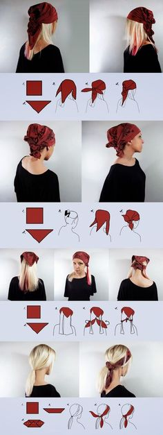 simple ways to wear head scarf . How to wear a scarf on your head – 6 easy, casual ways. The scarf used in examples is a square heavier weight silk scarf called 'Wine red' but you can use pretty much any square scarf to achieve the look. Head Turban, Head Bandana, Short Hair Bandana, Pirate Bandana, Curly Hair Styles, Natural Hair Styles, Head Scarf Styles, Halloween Disfraces, How To Wear Scarves