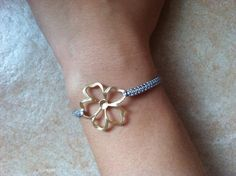 gray macrame bracelet with a Gold Plated Morning Glory by asiako25, $15.00
