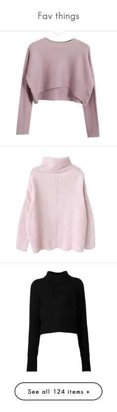 """""""Fav things"""" by m4r1n ❤ liked on Polyvore featuring tops, sweaters, shirts, crop tops, purple shirt, knit sweater, purple knit sweater, shirt crop top, round neck shirt and clothing - ls tops"""
