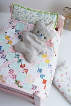 more nanaCompany love. This is a doll quilt she made and the bear is her own design. So sweet...