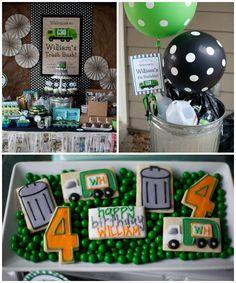 Birthday Trash Bash via Kara's Party Ideas KarasPartyIdeas.com #trashbash #garbagetruck #boypartyideas Cake, favors, printables, supplies, decor and more!