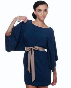 Mount Fuji Navy Blue Dress    Good for A or L! How how would this be with those mole colored platform heels?