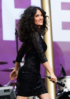 Salma Hayek - stunning black dress, love her hair!!