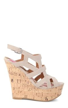 Deb Shops Open Toe Cork Wedge Heel with Strappy Shielded Upper with Cut Outs $27.67