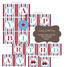 """Printable """"Happy Birthday Banner"""" Train Collection- LOVELY LITTLE PARTY. $7.00, via Etsy."""
