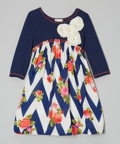 Look what I found on #zulily! Navy & Ivory Chevron Flower Dress - Toddler & Girls #zulilyfinds