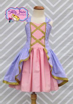 Rapunzel top paired with white leggings and purple converse. Disney Princess Dresses, Disney Dresses, Disney Outfits, Kids Outfits, Dress Up Aprons, Dress Up Outfits, Fashion Dresses, Rapunzel Dress, Tangled Rapunzel