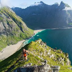 @kristian.kristiansen running up to Ryten, a beautiful hike & summit above the magnificient #kvalvika beach in #lofoten, Norway @thearctictriple #run #trail #trails #trailrun #igscandinavia #visitnorway #visitnordland #love #arctictriple #mountain #sea #norge #norway #norges_fotografer #norgefoto #explorenorway #exploremore #travel #travelphotography #travelblog #trailrunner #adventure #outdoors #outdoorphotography  #sport #athlete #theartictriple #ultratrail