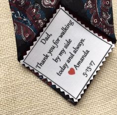 """Ink Printed TIE PATCH - Little Heart Accent - Choose Message & Font - 2.5"""" x 2.5"""" - Thank You For, Sew on, Iron On, Father of Bride or Groom #weddingaccessories #weddingtiepatches #fatherofthebride"""