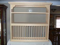 Organizer Crown moulding Wood cup Plate Dish Rack ART shelf Cabinet kitchen