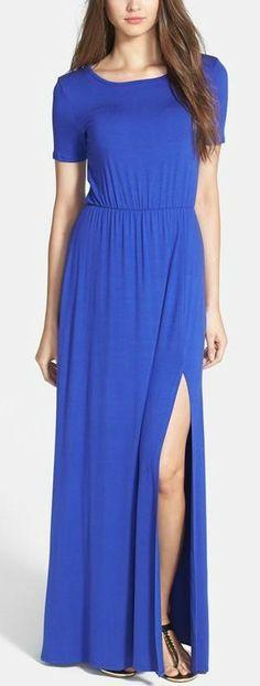 Loveappella Cinch Waist Stretch Knit Maxi Dress