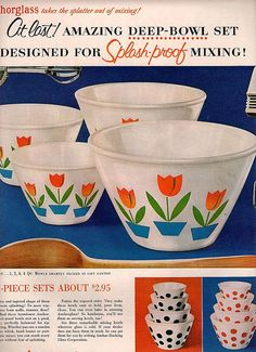 Tulip Anchor glass bowl set 1954