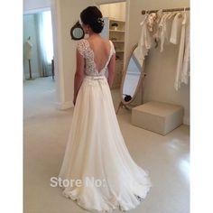 2016 Hot Selling Custom Made A Line Wedding Dresses Vestido de Noiva Casamento Chiffon Lace See through Backless Robe De Mariage   http://www.dealofthedaytips.com/products/2016-hot-selling-custom-made-a-line-wedding-dresses-vestido-de-noiva-casamento-chiffon-lace-see-through-backless-robe-de-mariage/