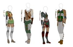 Leather Light Armor Outfit Adopts - 4 pack - SOLD by ShadowInkAdopts on DeviantArt