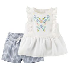 She's set for sunny days with fluttery details and colorful embroidery. With coordinating shorts, getting dressed is a breeze!