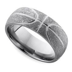 Stipple Finish Basketball Pattern Men's Wedding Ring in Titanium