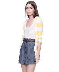 Wide Stripe Cardigan cream/yellow $19.80 at Forever21