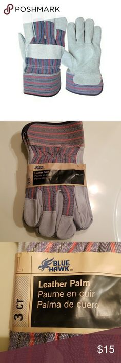 3 Pack Leather Work Gloves This Item Is Brand New With Tags And Never Worn   This is  THREE PAIR of leather work gloves for posted price Great for all around protection while working Construction Chopping Wood Mechanic work Or Gardening Size Large   Be Sure To Check Out The Rest of My Listings For Additional Mens Women's Kids Work Gardening Construction Gloves  ✔ BUNDLE UP FOR SAVINGS  ✔ Bluehawk Accessories Gloves