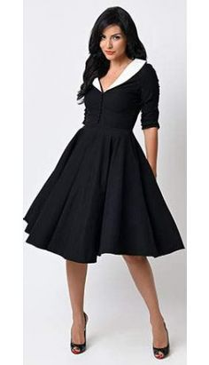 Unique Vintage 1950s Black & White Sleeved Eva Marie Swing Dress