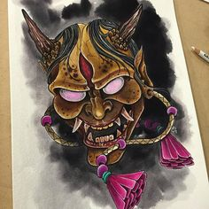 Hannya Mask Watercolor by Derek Dufresne email SpaceTigerTattoos@icloud.com