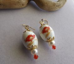 Drop Dangle Earrings with Porcelain EggShaped by Sparklesalot2, $7.00