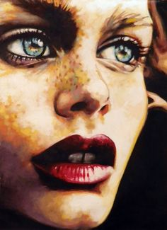 "Saatchi Online Artist:Thomas Saliot:""Intense green eyes"", Oil."