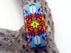 Native American Beaded Leather Bracelet With A by LJGreywolf, $30.00